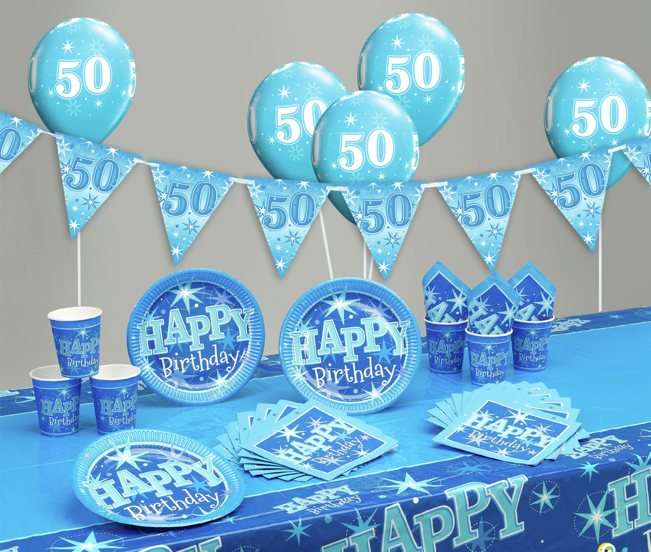 Blue Sparkle 50th Birthday Party Pack 7431665
