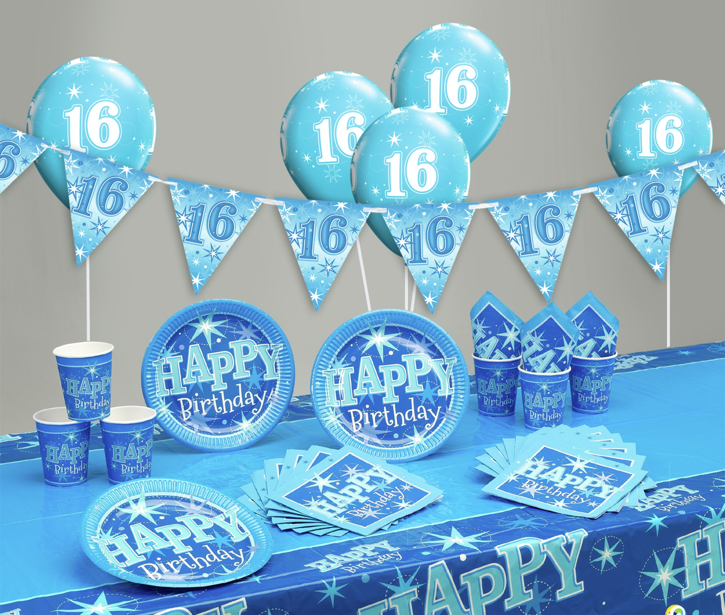Image of Blue Sparkle 16th Birthday Party Pack