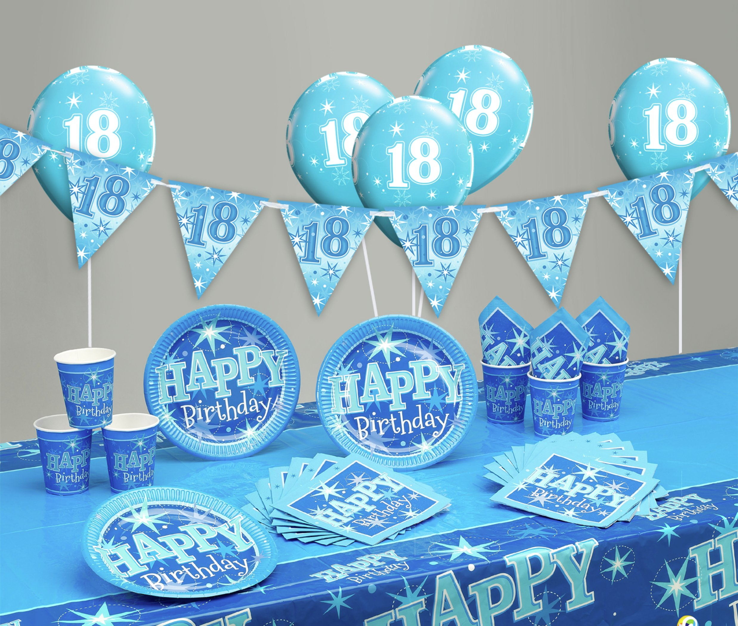 Image of Blue Sparkle 18th Birthday Party Pack