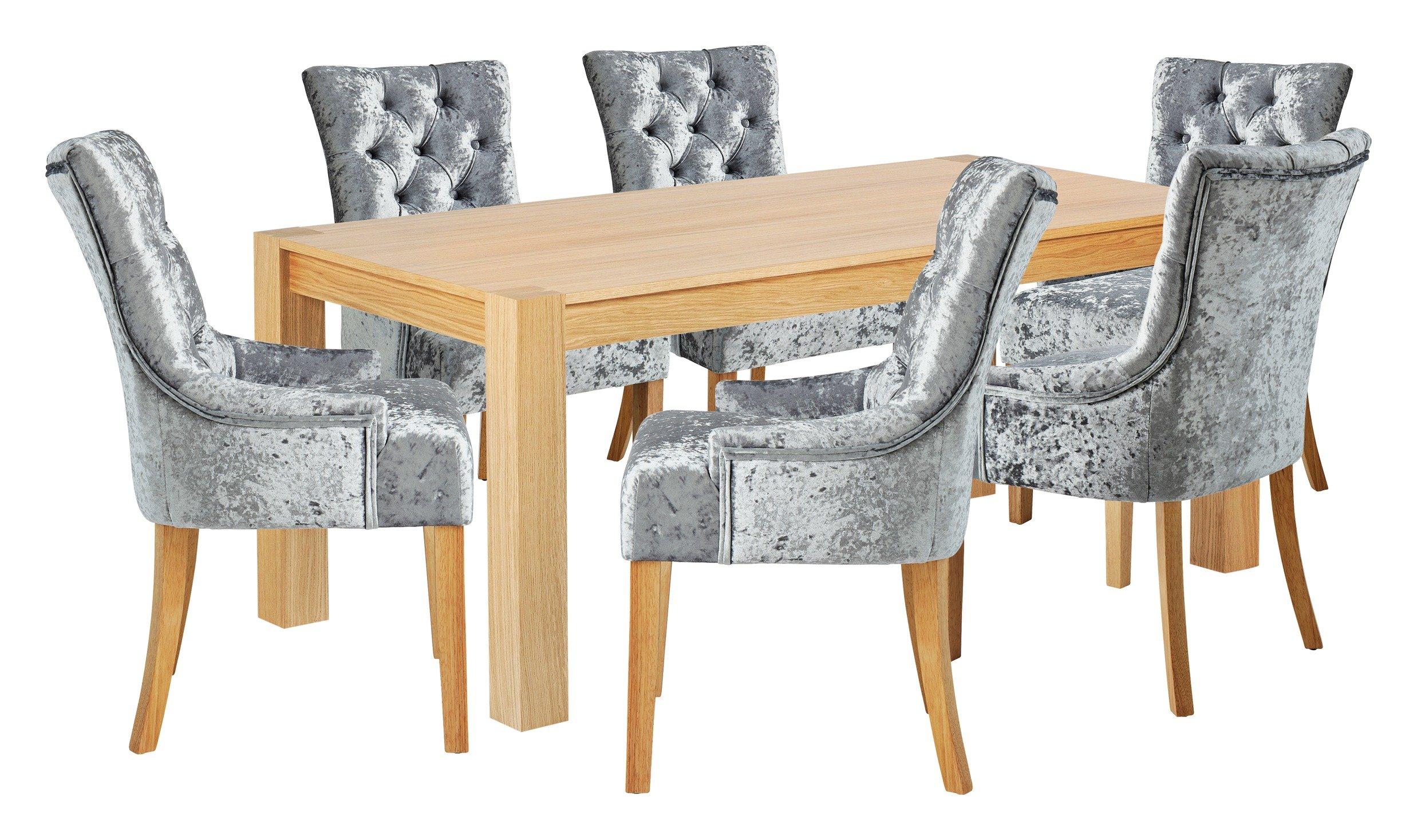 Image of Heart of House Halwick Oak Veneer Table & 6 Chairs - Grey