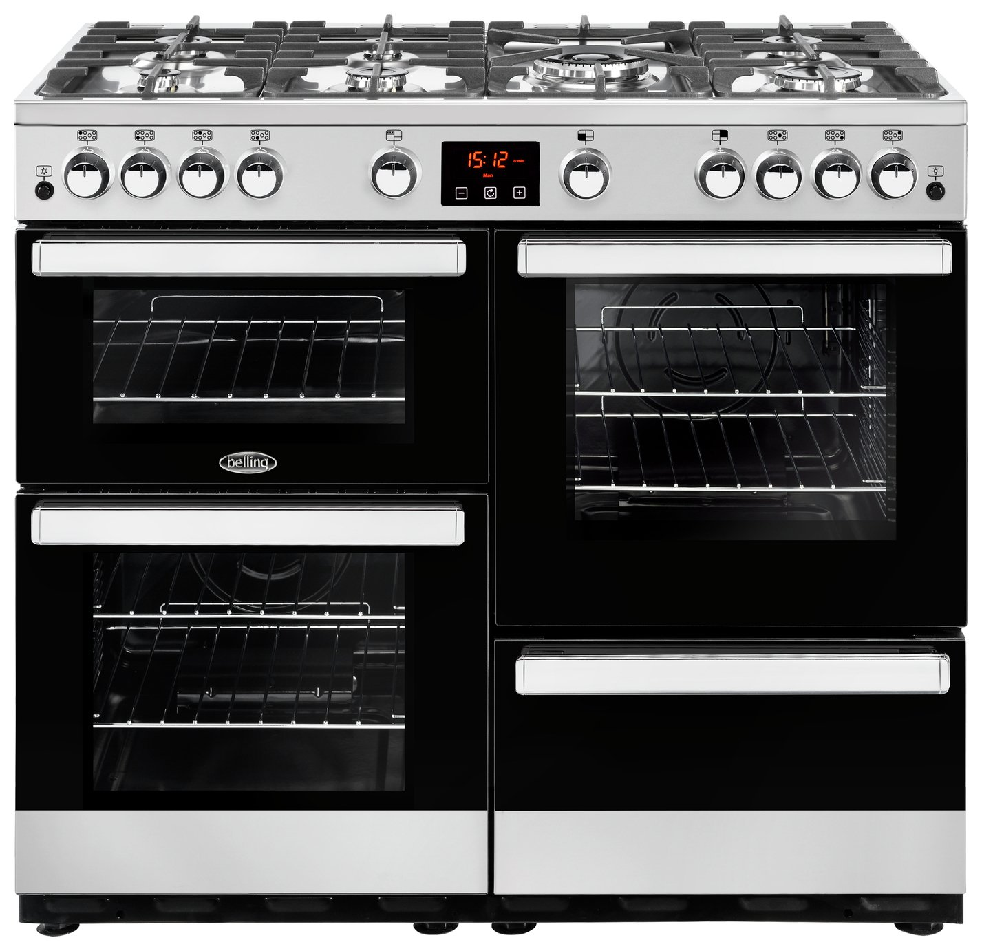 Image of Belling Cookcentre 100G Gas Range Cooker - Stainless Steel