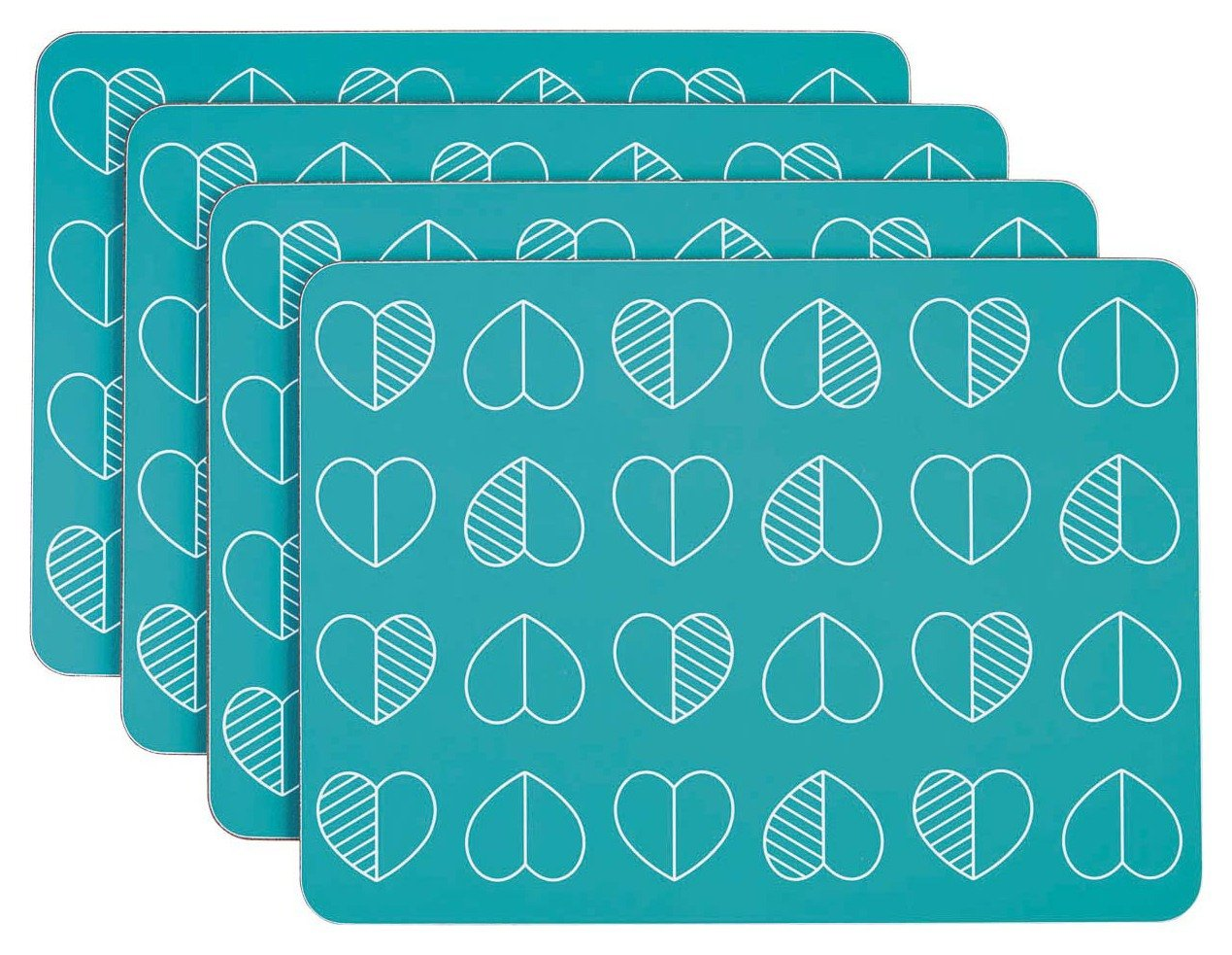 Image of Beau and Elliot Outline Set of 4 Placemats - Teal.