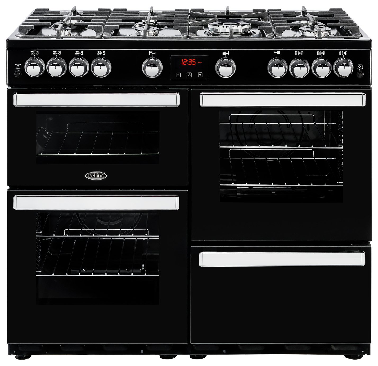 Belling Cookcentre 100G Gas Range Cooker - Black