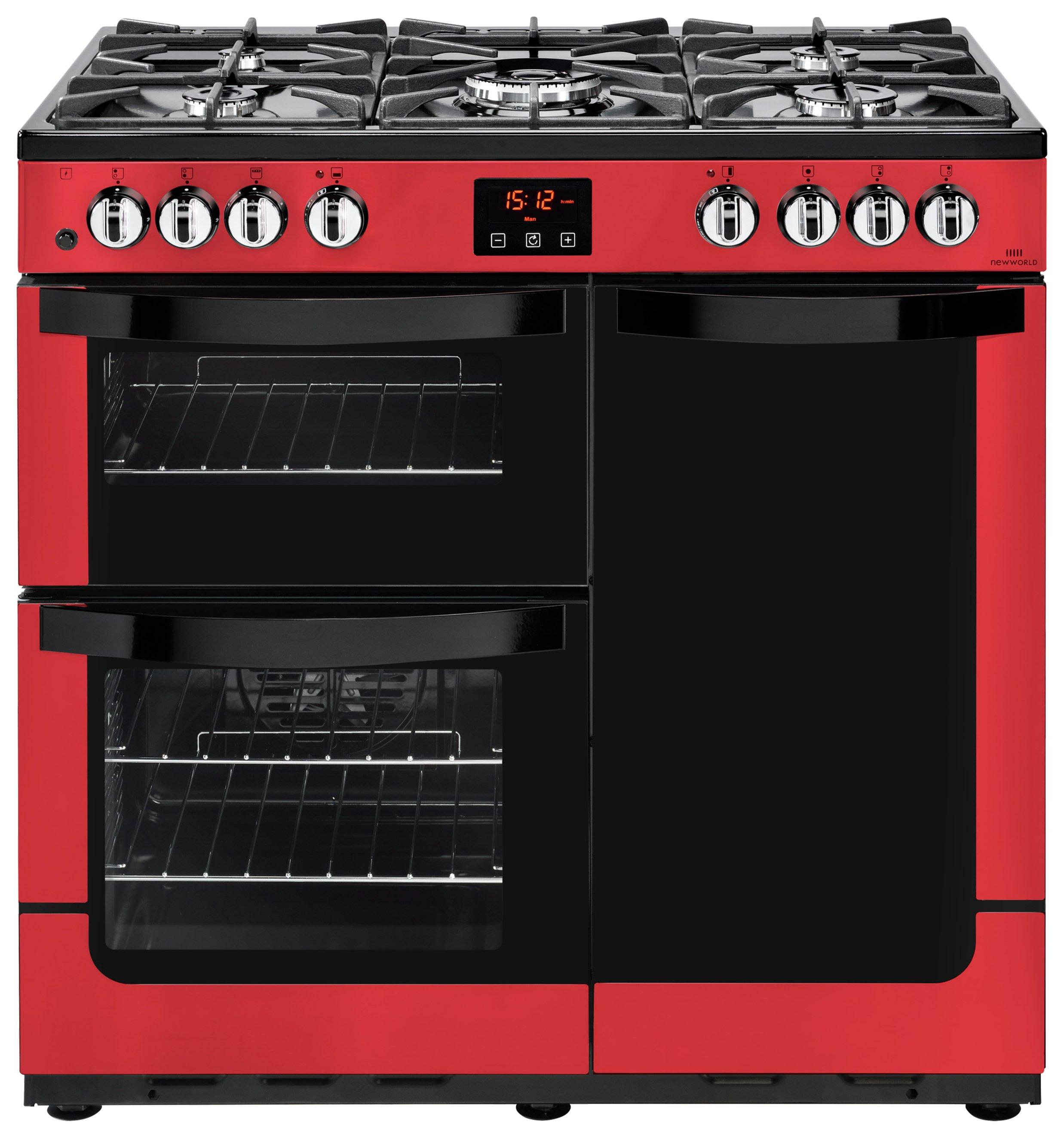 New World Vision 90DFT Duel Fuel Range Cooker - Red + Installation