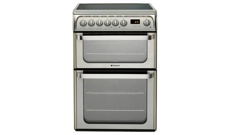Hotpoint HUE61XS 60cm Double Oven Electric Cooker - S/Steel
