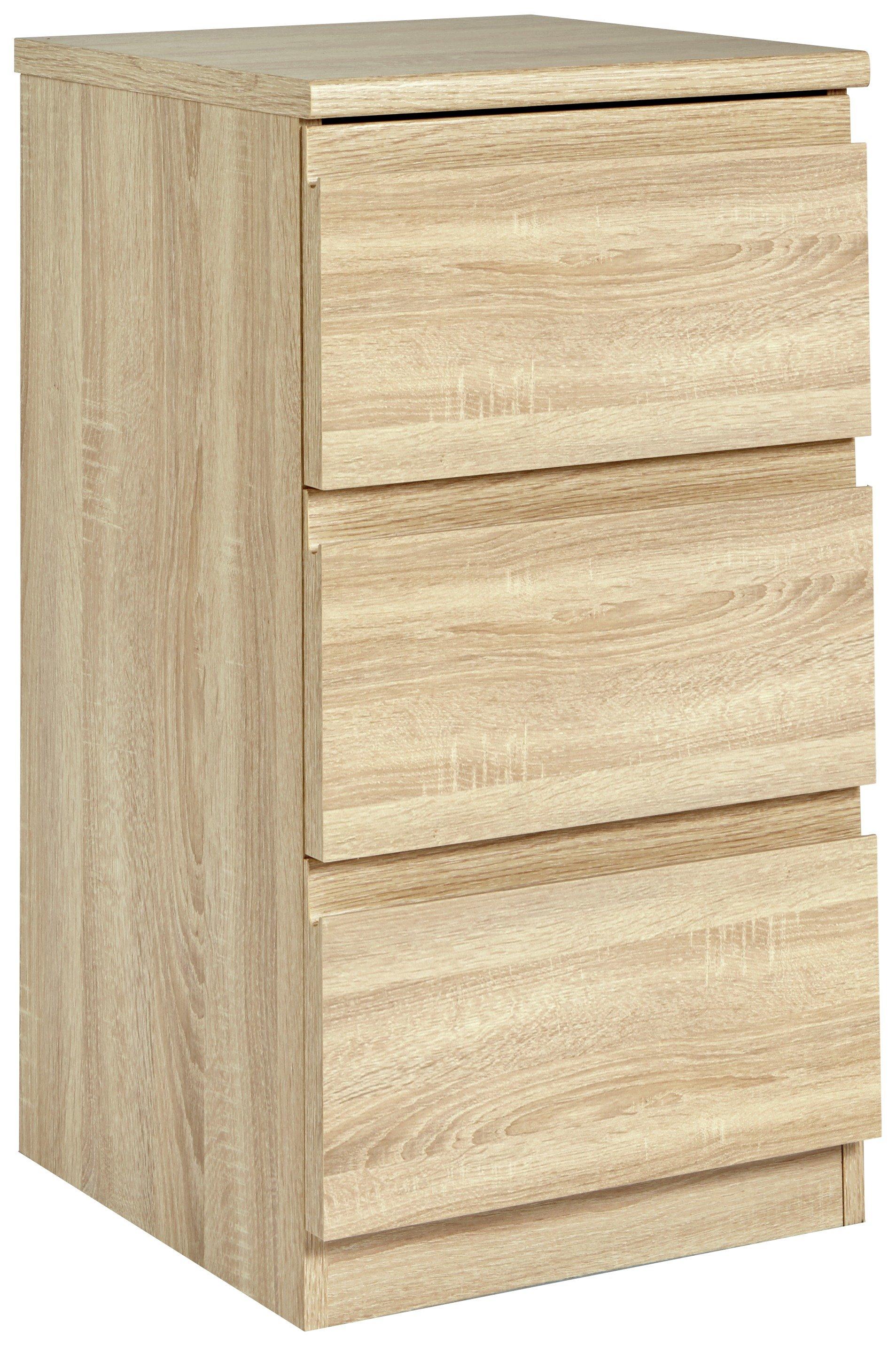 Image of Avenue 3 Drawer Bedside Chest - Natural Oak Effect