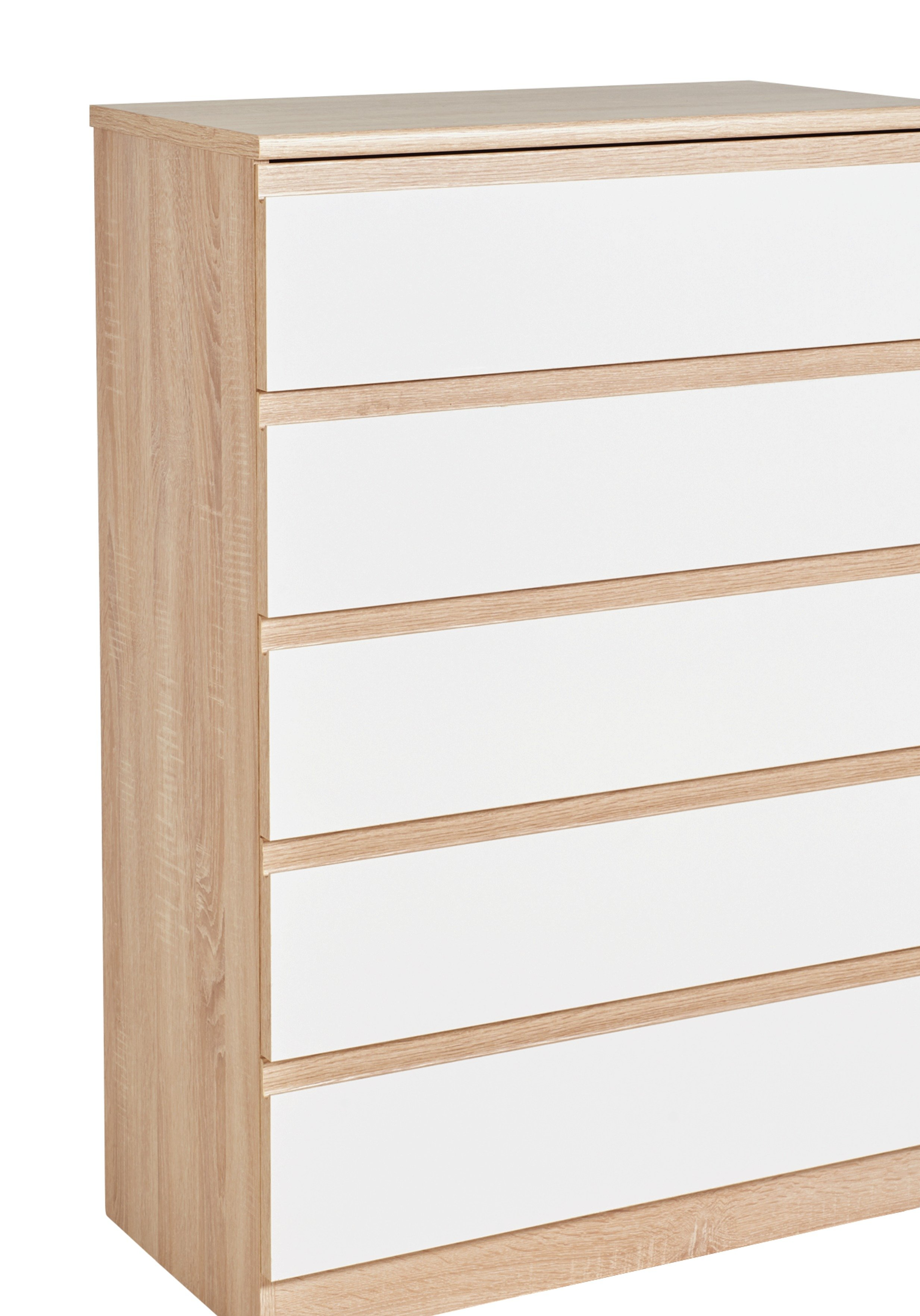 Image of Avenue 5 Drawer Chest - Natural Oak Effect and White Gloss