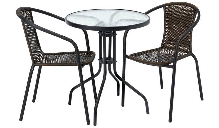 Argos Home 2 Seater Rattan Effect Balcony Set - Brown