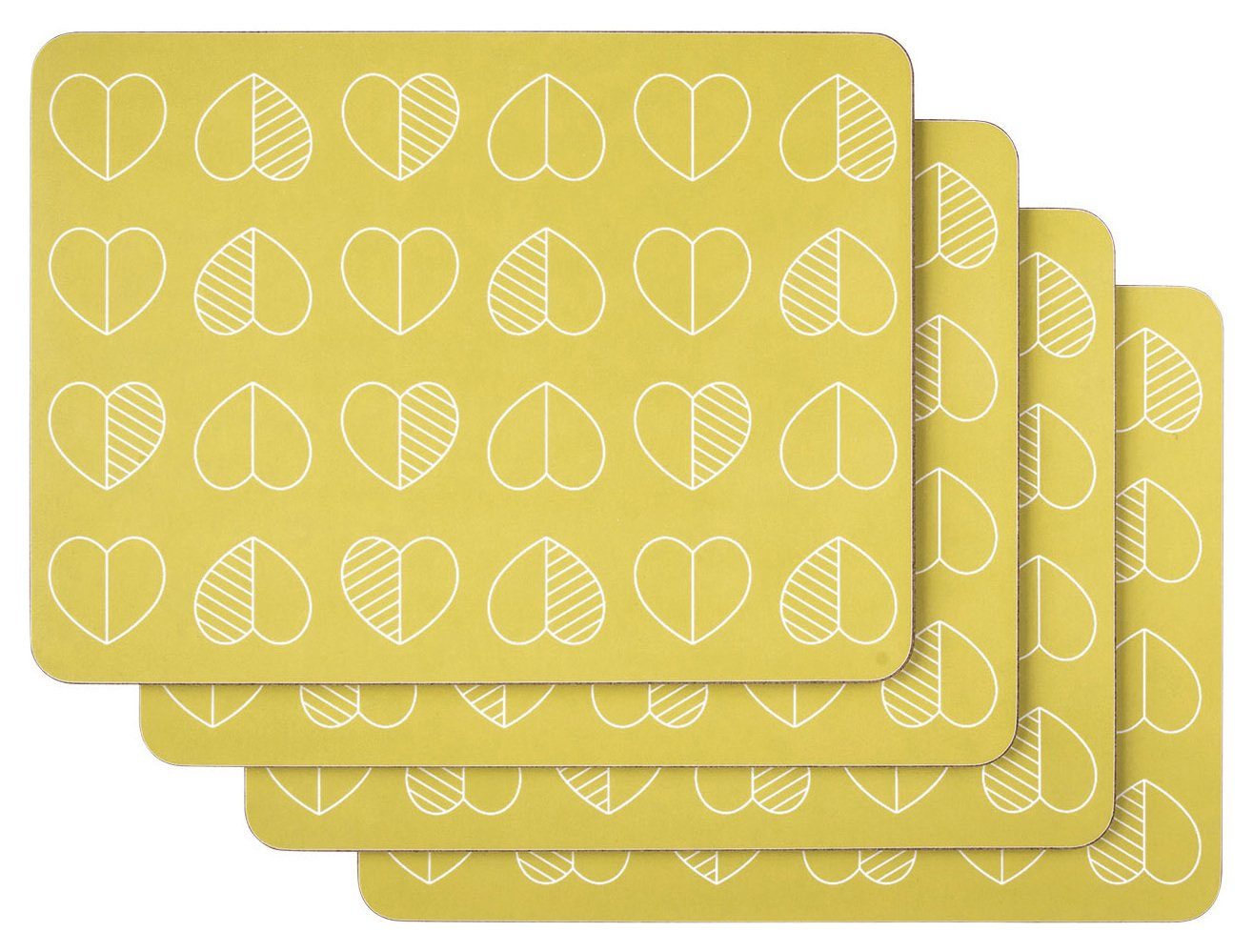 Image of Beau and Elliot Outline Set of 4 Placemats - Mustard.
