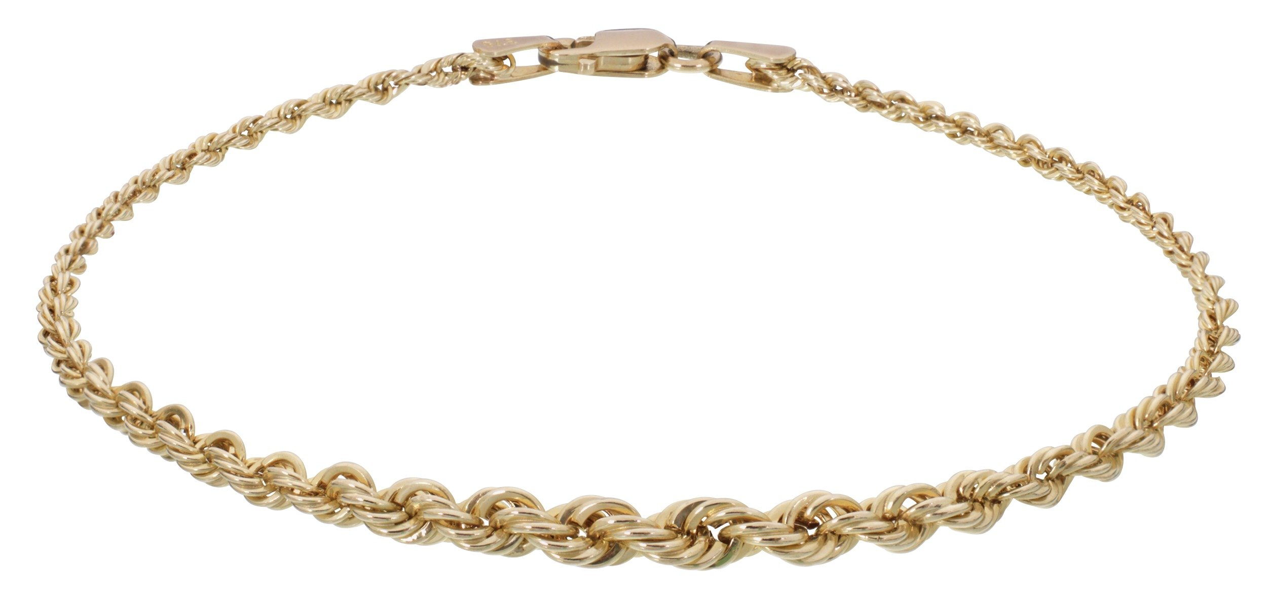 Revere 9ct Yellow Gold Graduated Rope Bracelet
