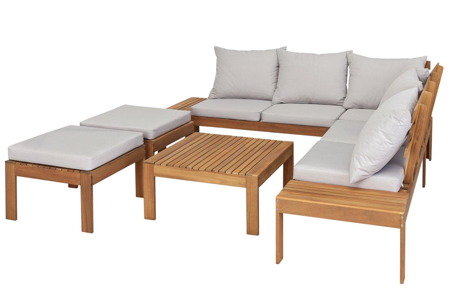 Argos Home 6 Seater Wooden Corner Sofa Set
