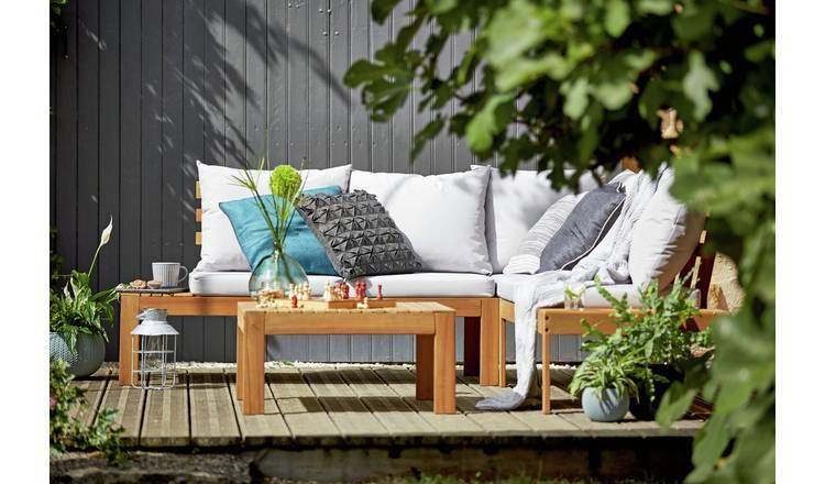 Buy Argos Home 6 Seater Wooden Corner Sofa Set Patio Sets Argos