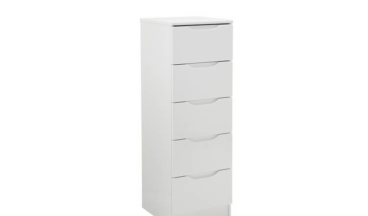 Legato 5 Drawer Tallboy - White Gloss