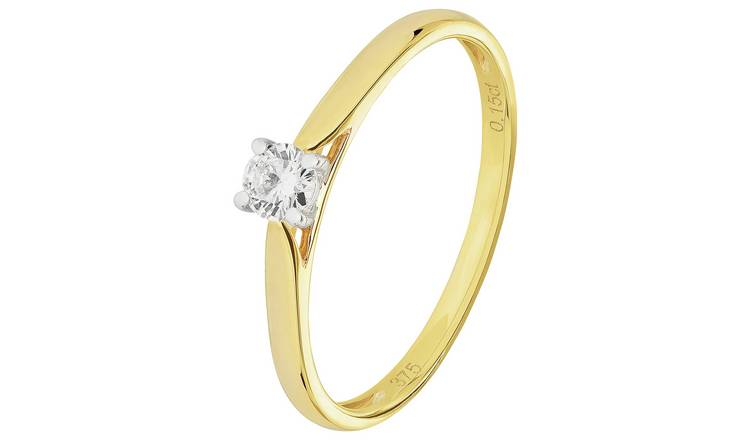 Revere 9ct Gold 0.15ct Diamond Solitaire Ring - K