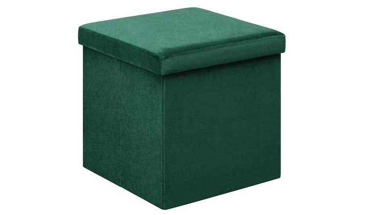 Argos Home Small Velvet Ottoman - Green