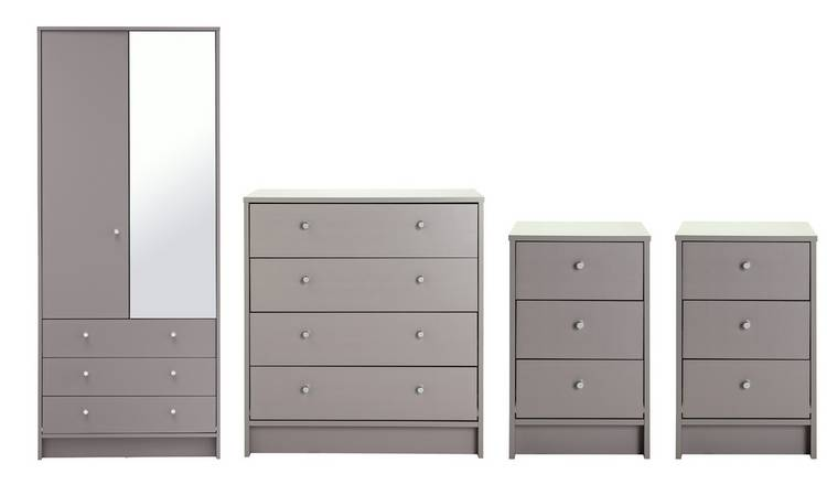 Habitat Malibu 4 Piece 2 Door Mirror Wardrobe Set - Grey