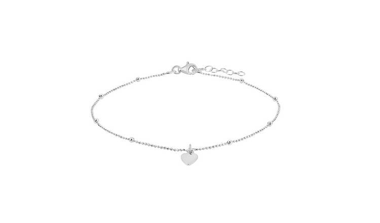 State of Mine Sterling Silver Beaded Anklet with Heart Charm