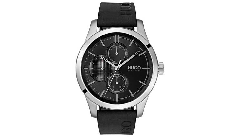 HUGO Men's Discover Chronograph Black Leather Strap Watch