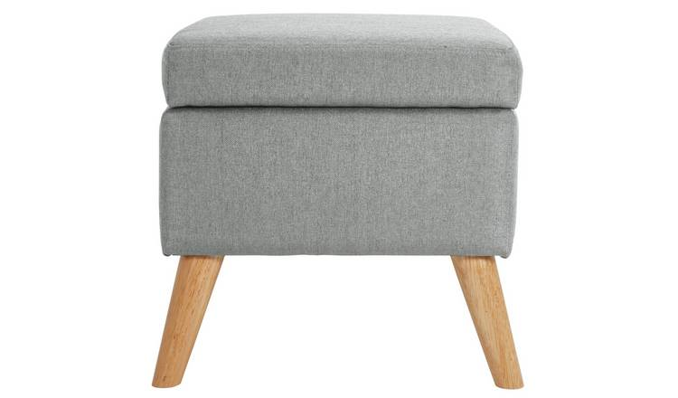 Argos Home Lexie Fabric Storage Footstool - Grey