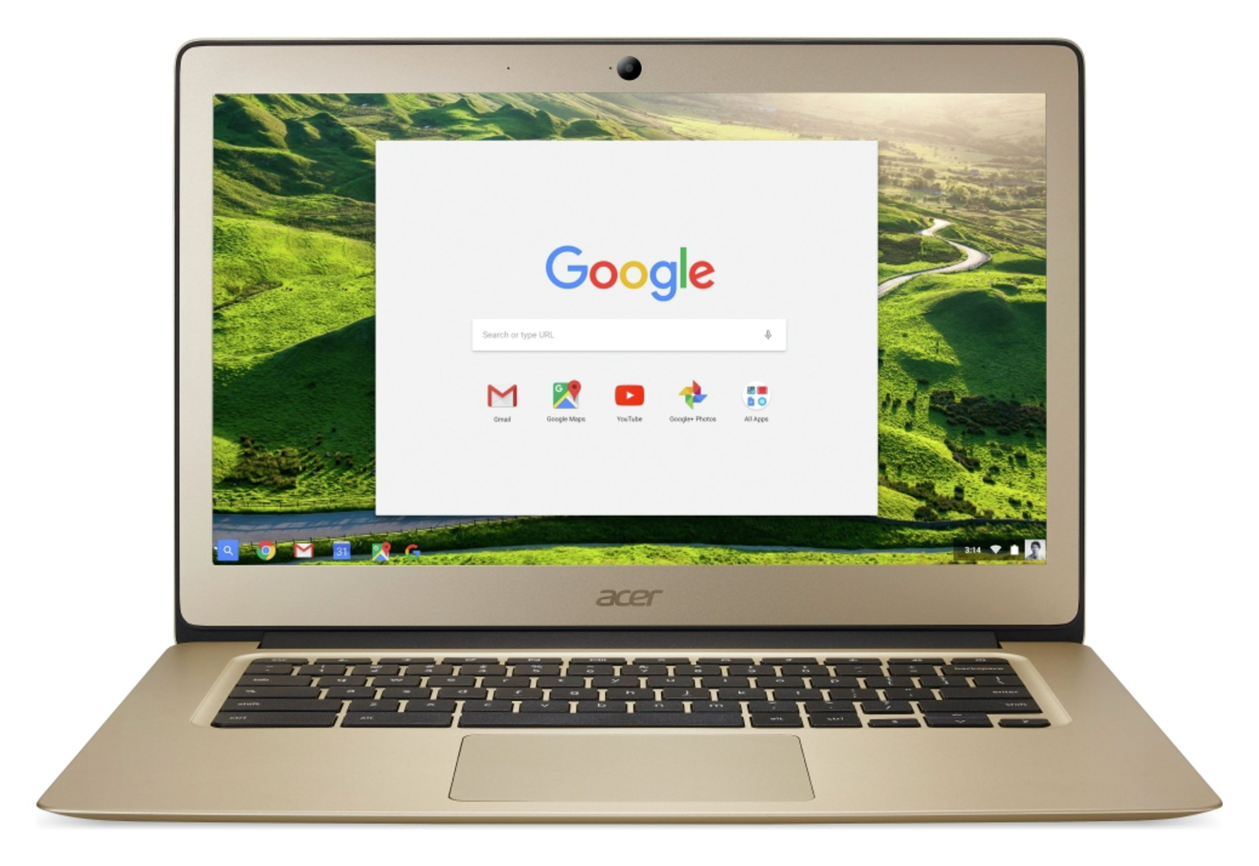 Image of Acer 14 Inch Intel Celeron 4GB 32GB Chromebook - Gold