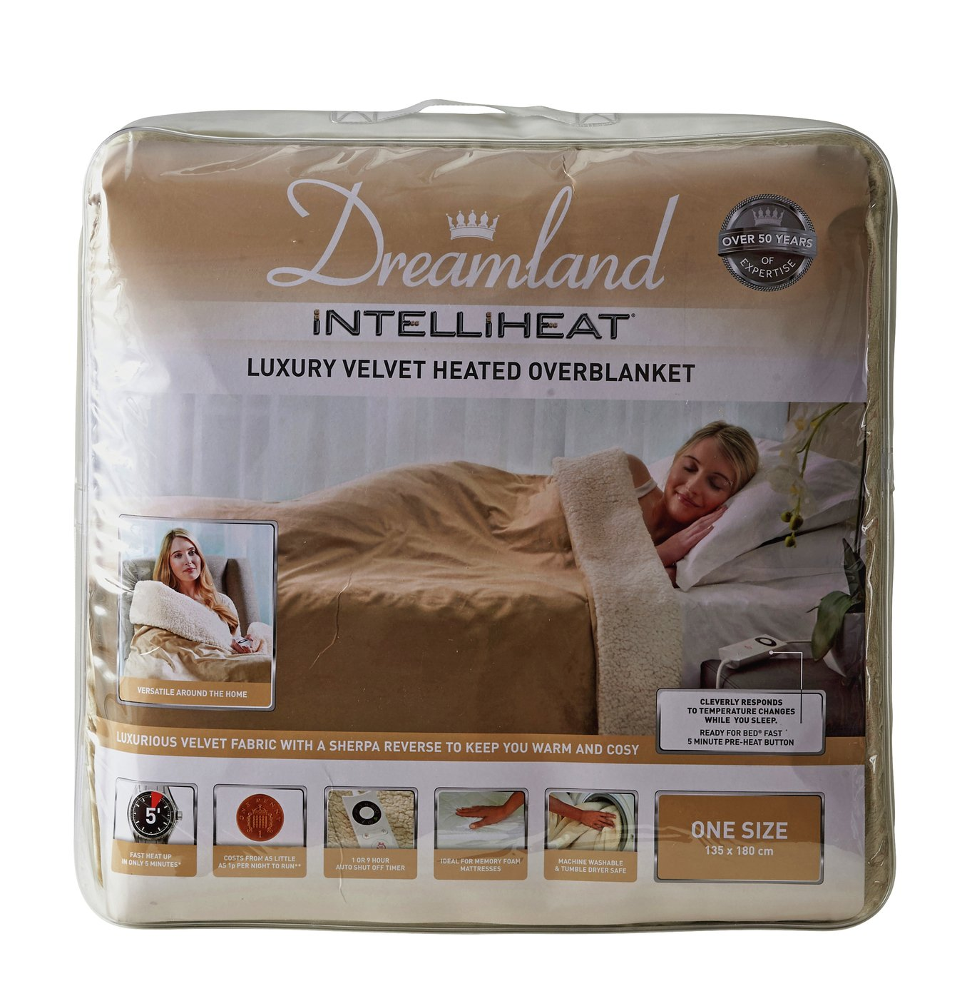 Dreamland Lux Velvet Heated Overbed Sherpa Fleece
