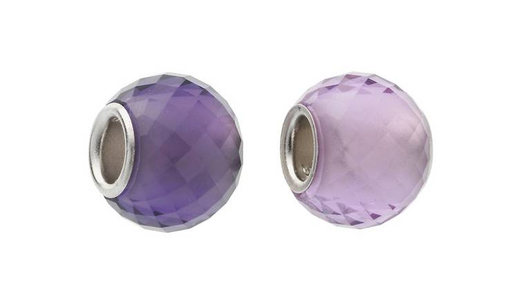Moon & Back Silver Faceted Purple Glass Beads - Set of 2