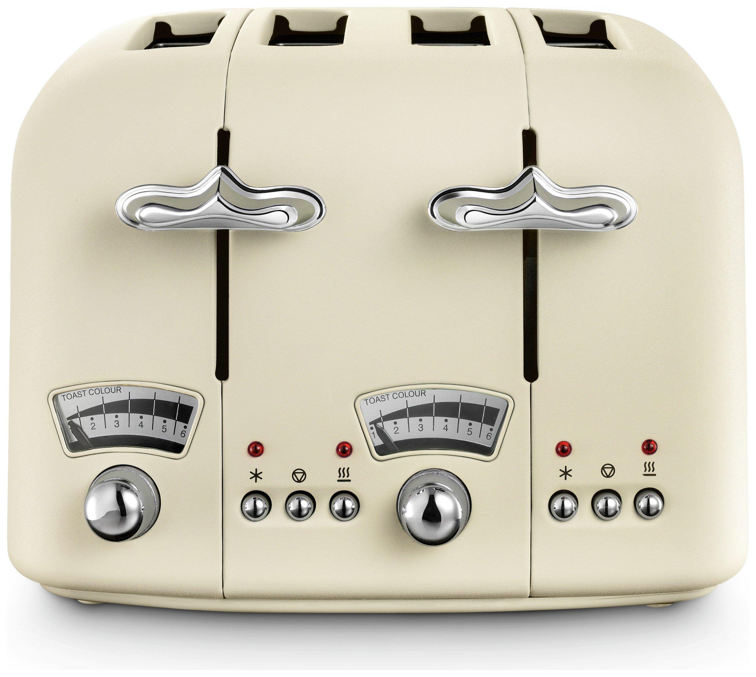 De'Longhi CTO4 Argento Flora 4 Slice Toaster - Beige