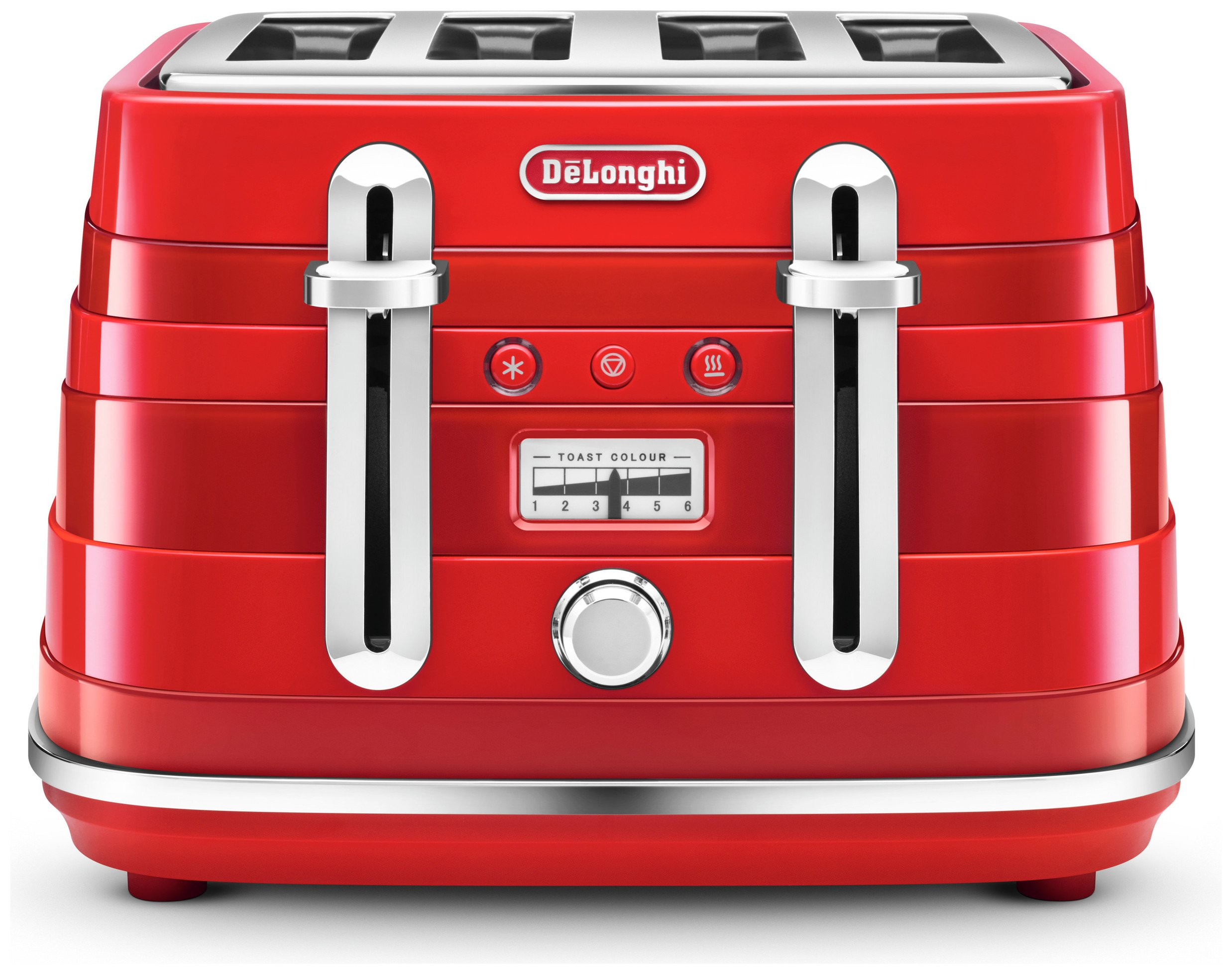 Image of De'Longhi CTA4003R Avvolta 4 Slice Toaster - Red