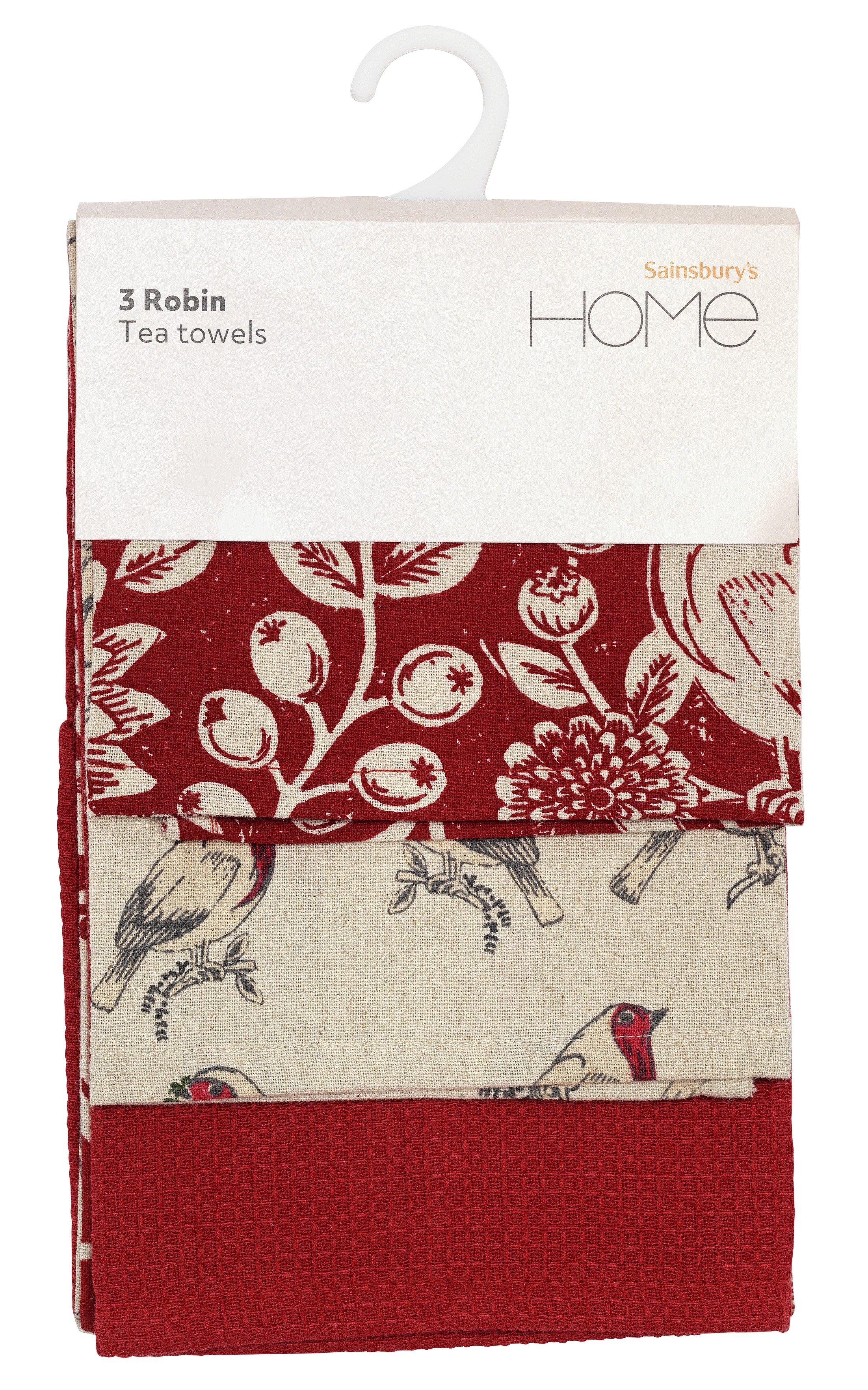 Sainsbury's Home Pack of 3 Robin Tea Towels