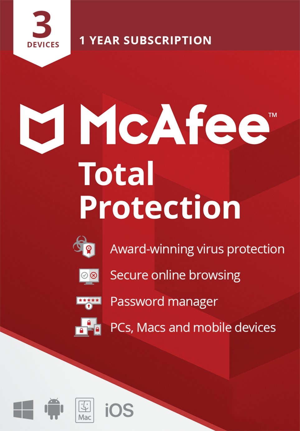 McAfee Total Protection 1 Year 3 Users