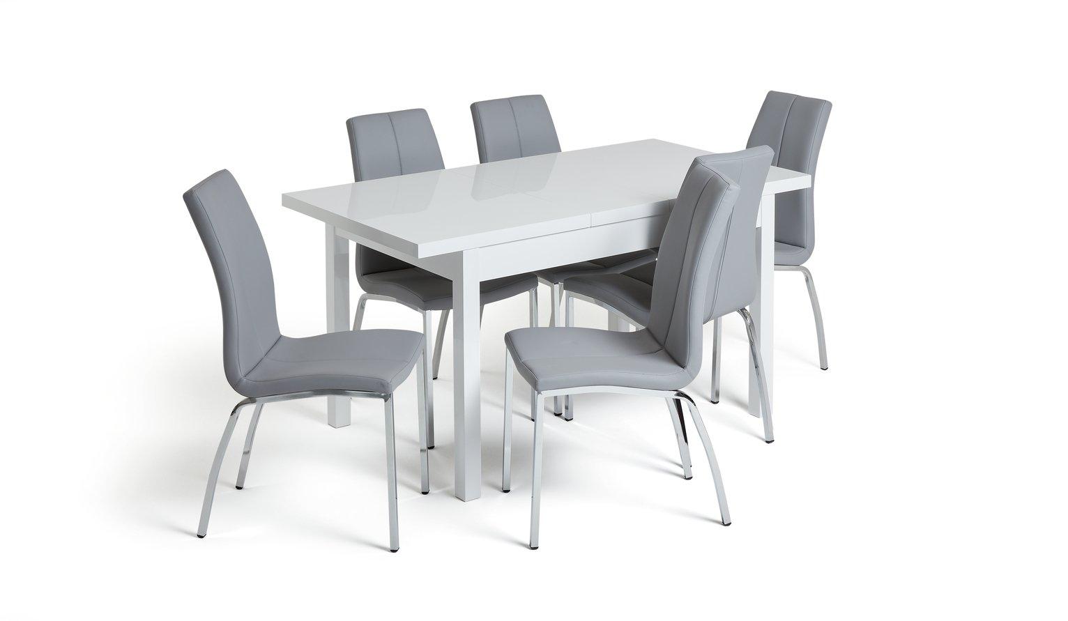 Argos Home Lyssa Extendable Table 6 Milo Chairs Grey