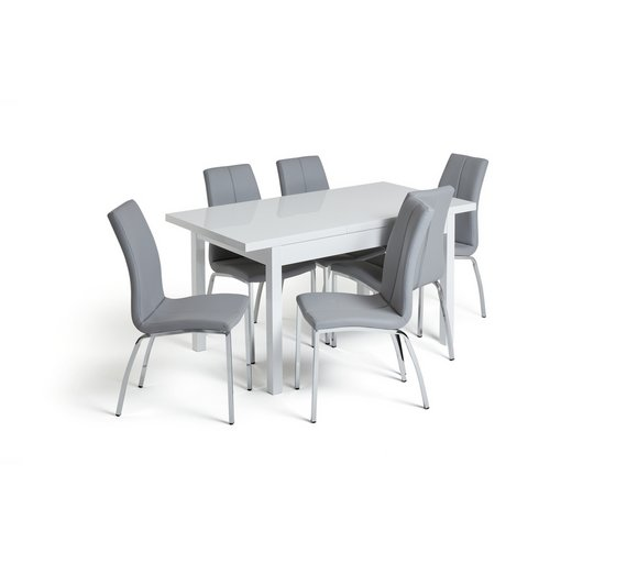 Buy Argos Home Lyssa Extendable Table   6 Milo Chairs - Grey ... 2e56f11ed