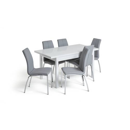 Argos Extending Dining Table And Chairs: Buy Argos Home Lyssa Gloss Extending Table & 6 Grey Milo