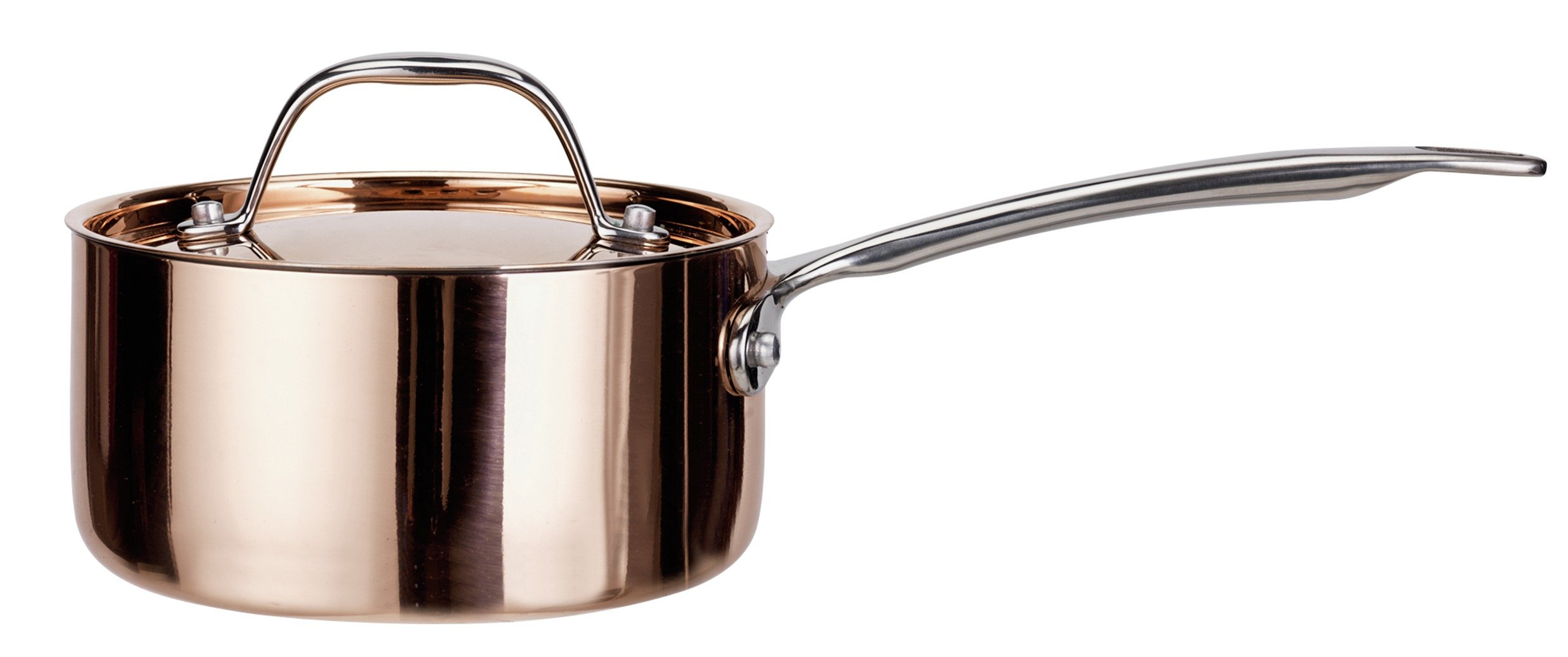 Sainsbury's Home Cooks Collection 16cm Copper Saucepan & Lid