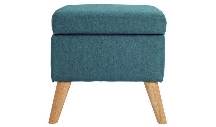 Argos Home Lexie Fabric Storage Footstool - Denim Blue