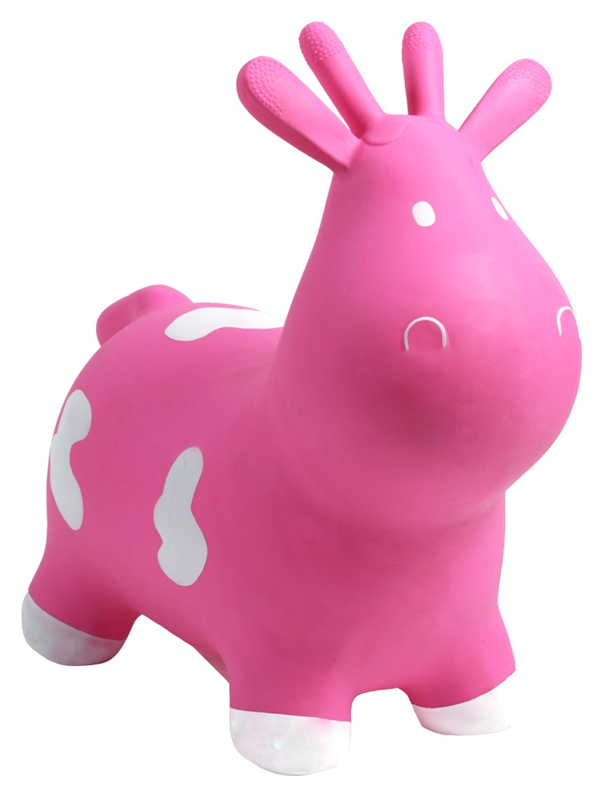Image of HappyHopperz Inflatable Bouncer Cow - Pink.