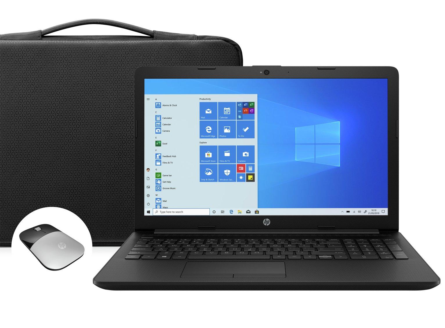 HP 15.6in Celeron 4GB 1TB FHD Laptop Bundle - Black