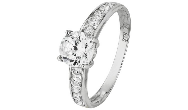 Revere 9ct White Gold  Solitaire Shoulder Accent Ring - L