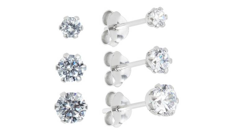 Revere Sterling Silver Stamp Cubic Zirconia Stud Earrings