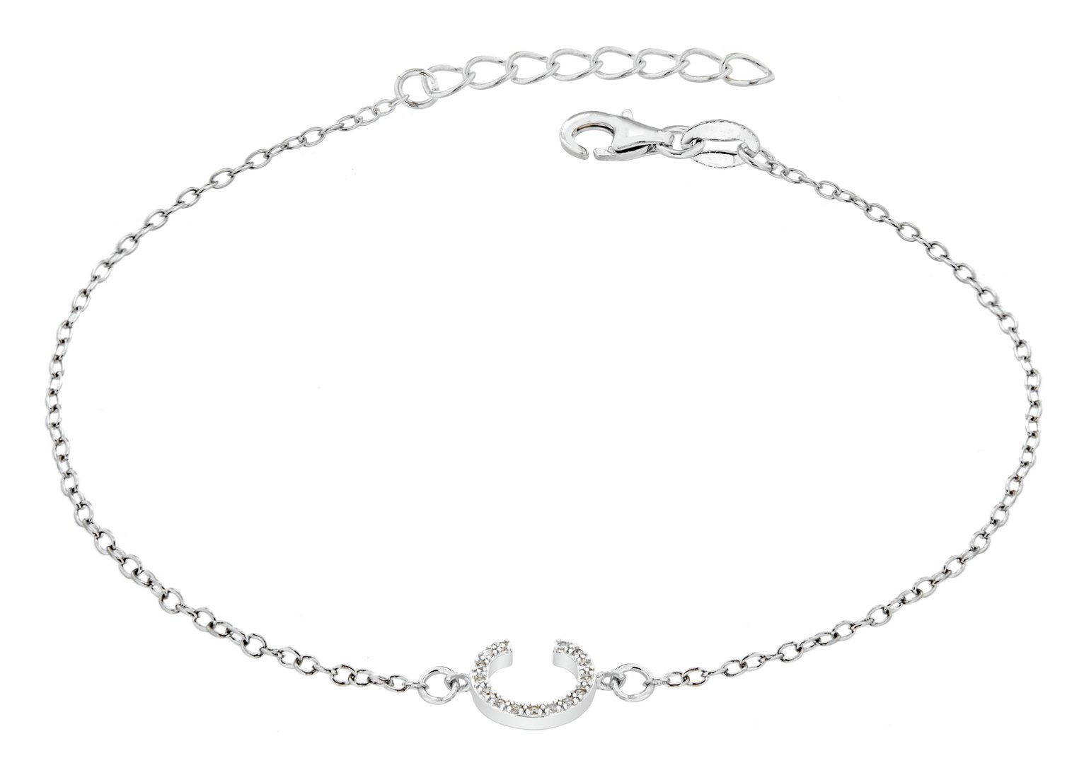 Sterling Silver Cubic Zirconia Initial Bracelet - C