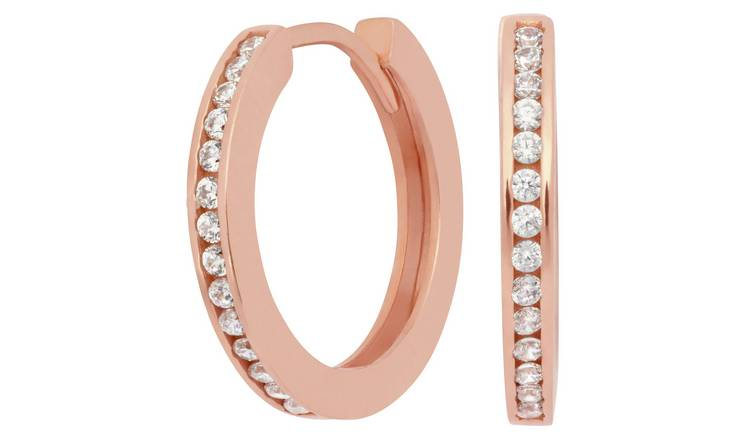 Revere 9ct Rose Gold Plated Huggie Hoop Earrings