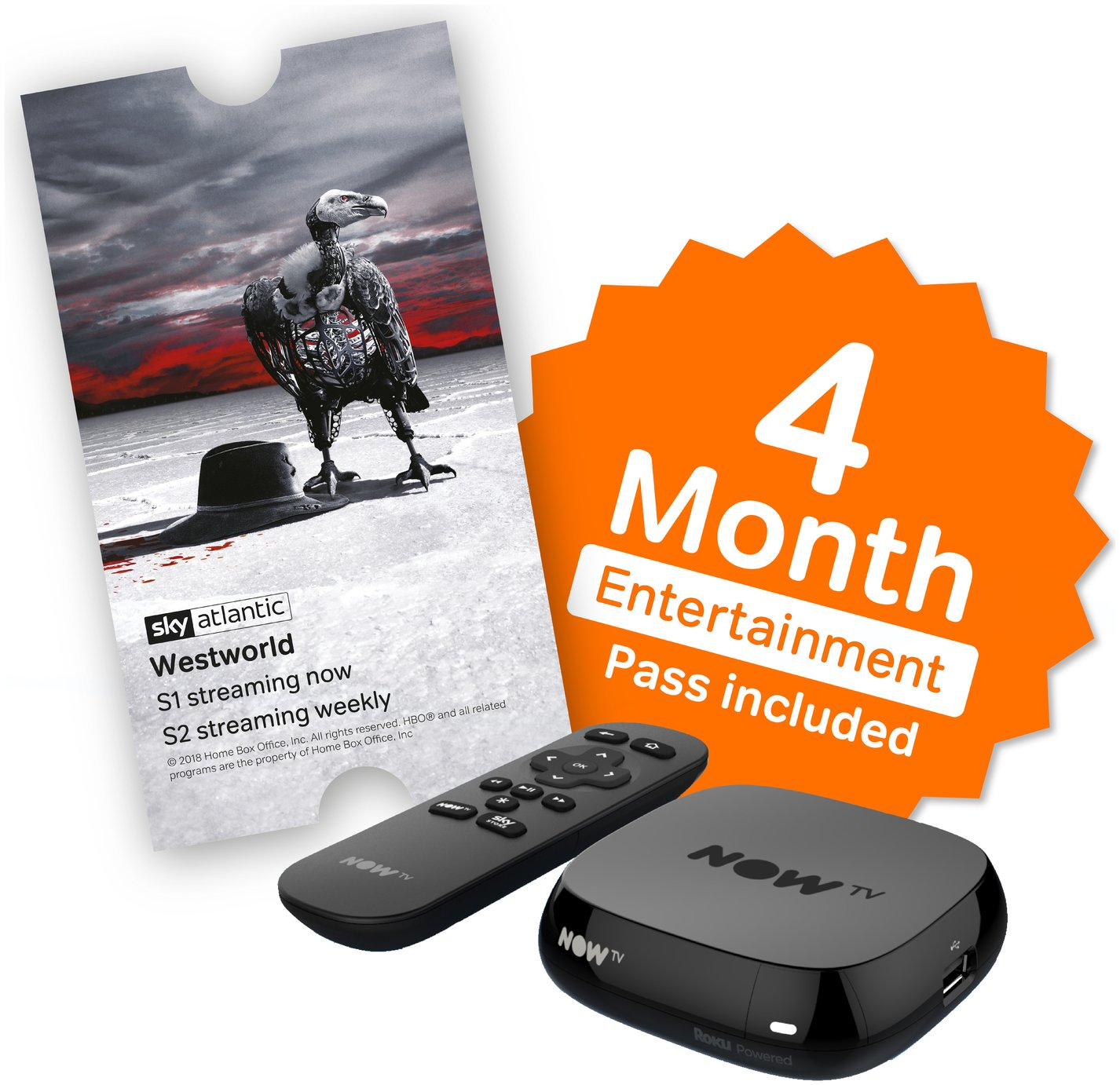 Image of NOW TV Box with 4 Month Sky Entertainment Pass.