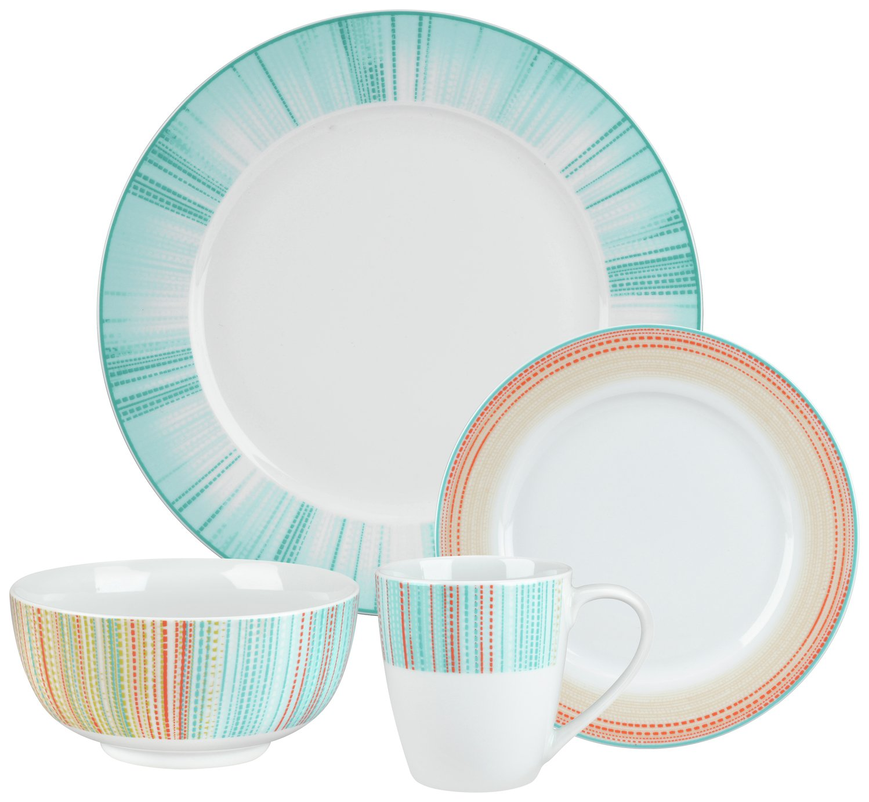 Portmeirion 12 Piece Dinner Set - Coral Stripe