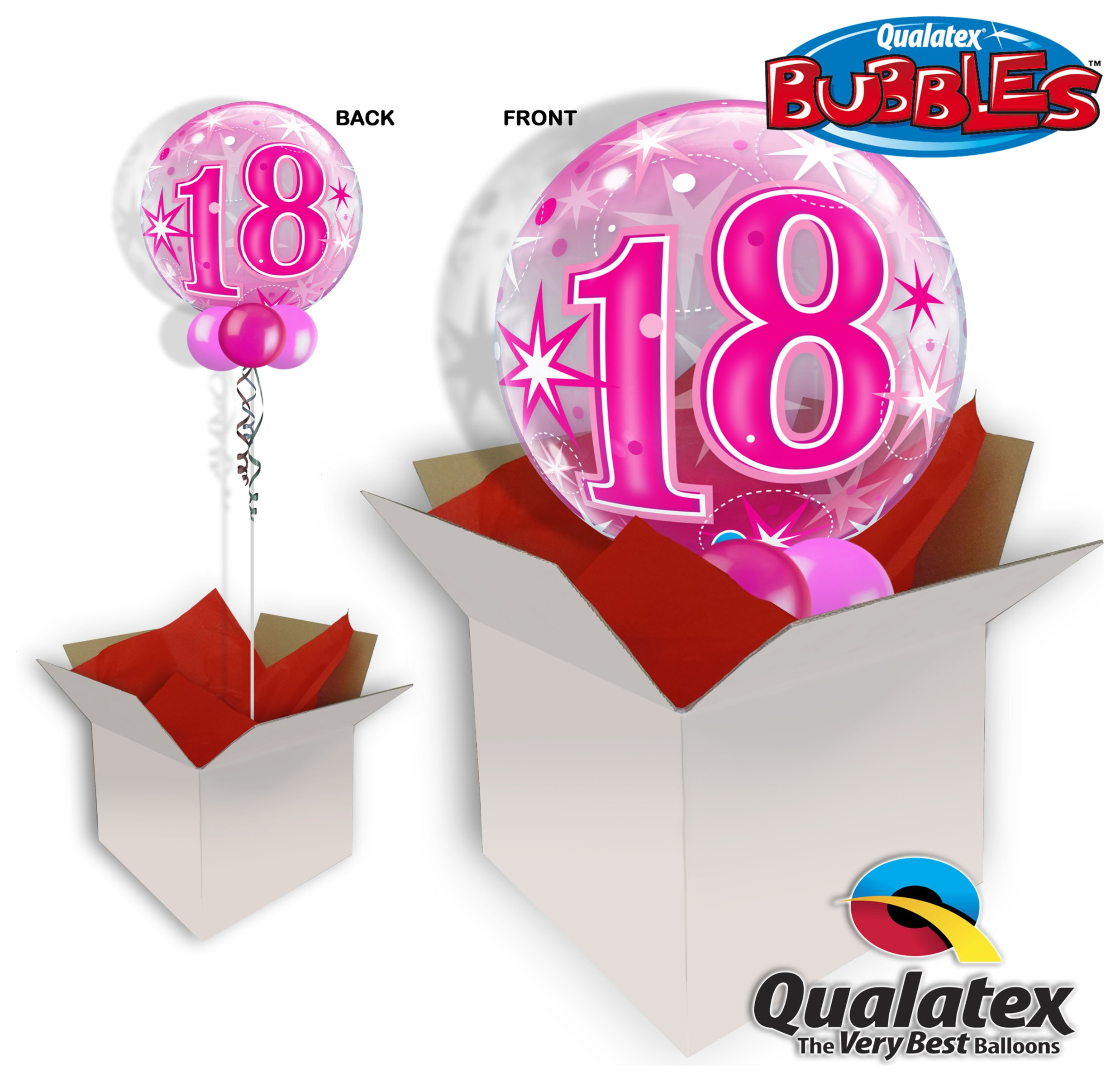 Image of 18th Pink Starburst Sparkle 22 Inch Bubble Balloon In A Box