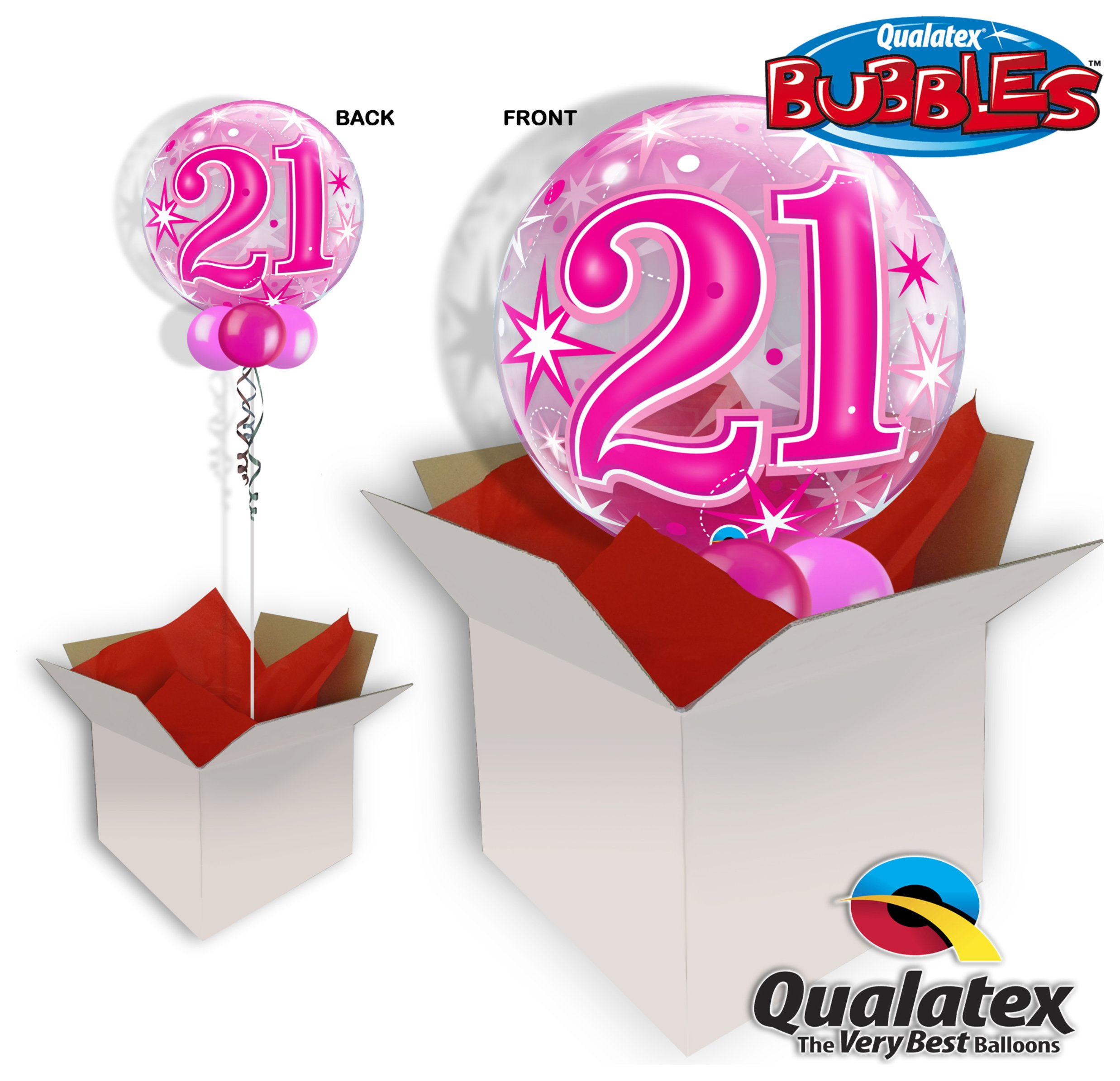 Image of 21st Pink Starburst Sparkle 22 Inch Bubble Balloon In A Box