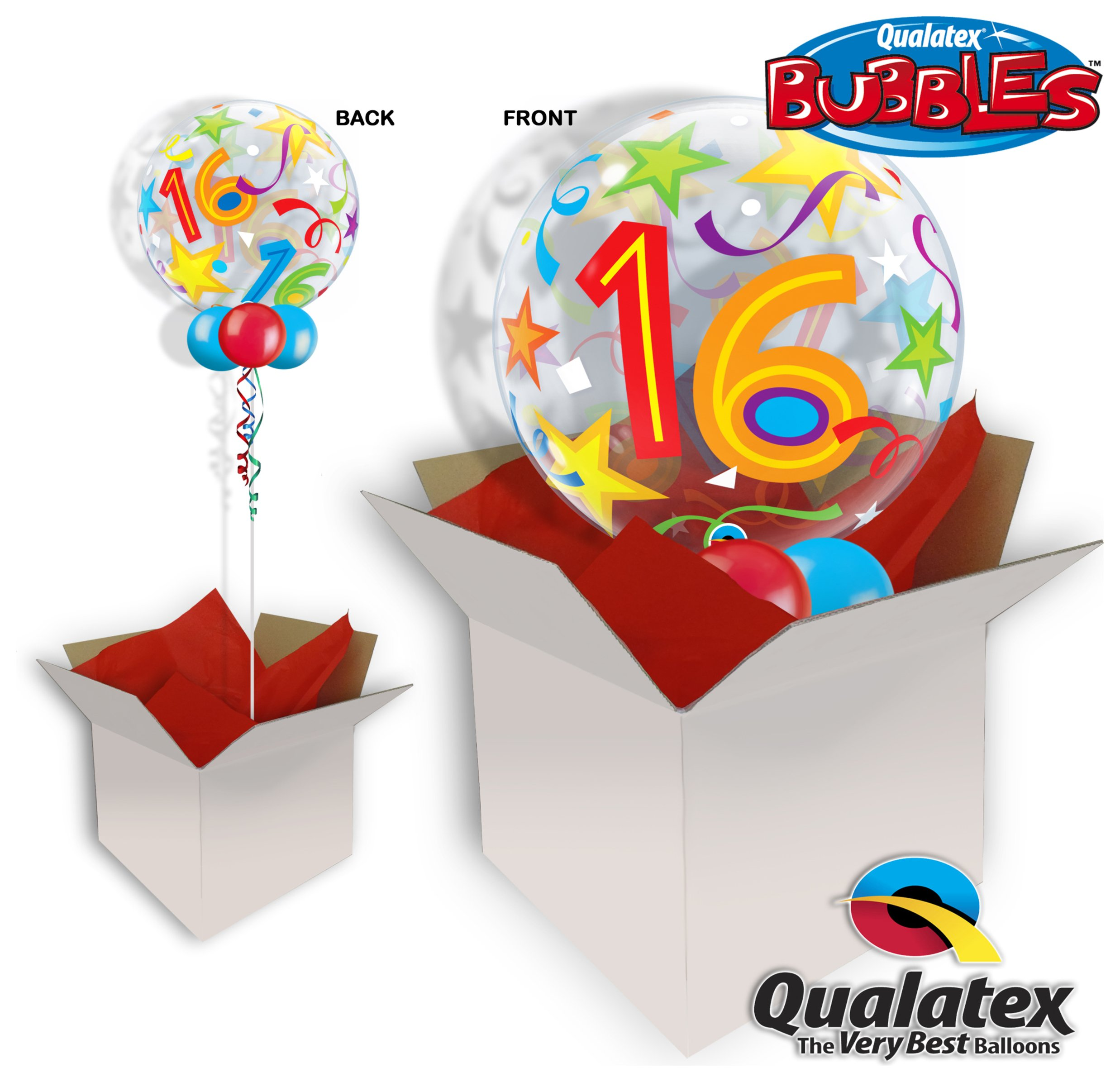 16 Brilliant Stars 22 Inch Bubble Balloon In A Box