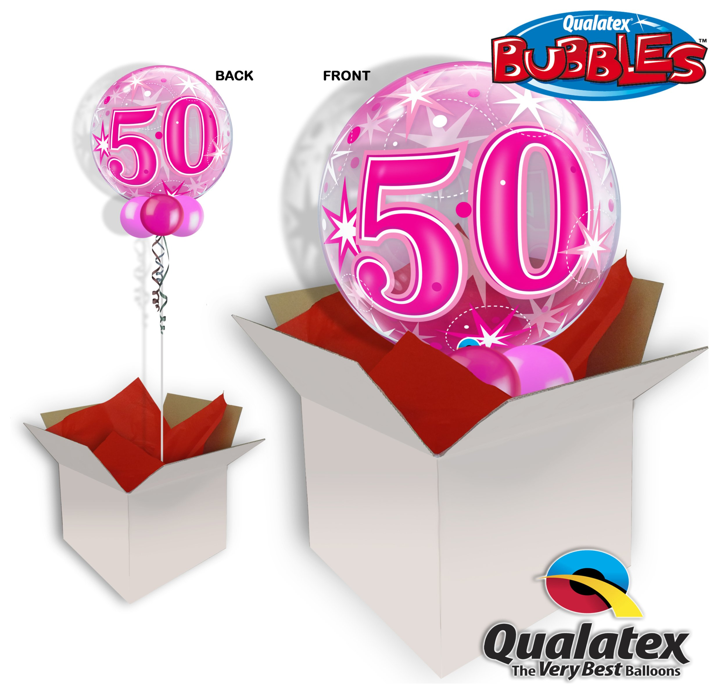 50th Pink Starburst Sparkle 22 Inch Bubble Balloon In A Box review
