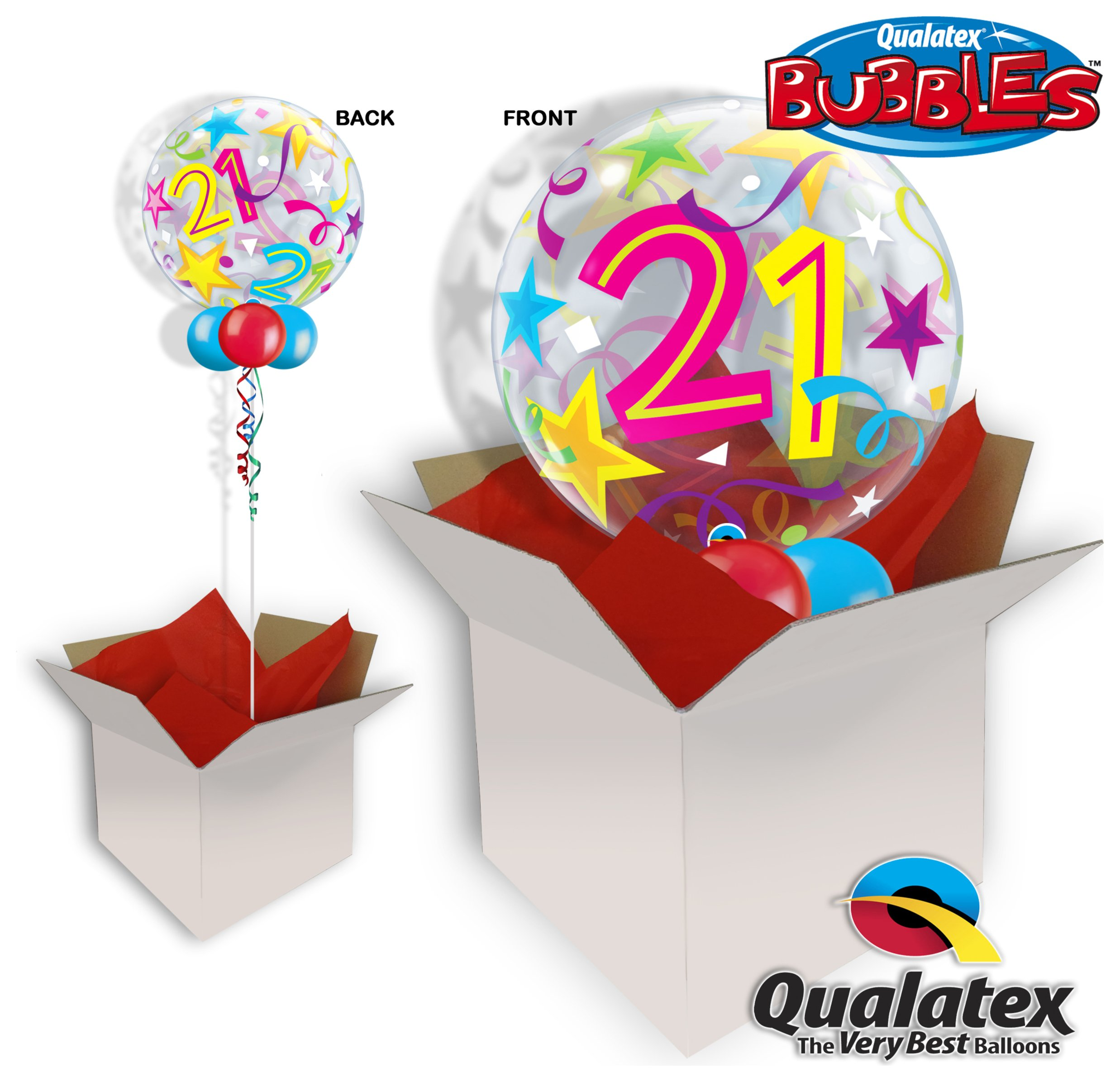 Image of 21st Birthday Brilliant Star 22 Inch Bubble Balloon In A Box