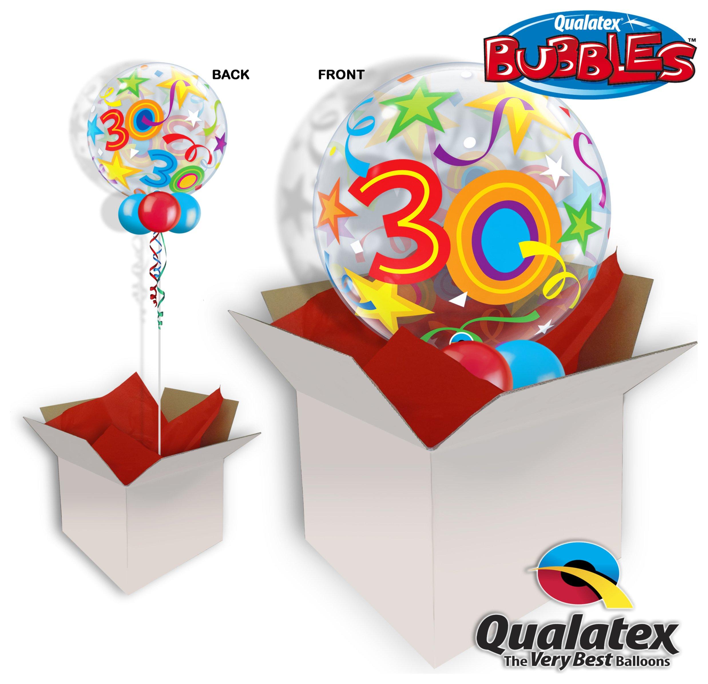 Image of 30th Brilliant Stars 22 Inch Bubble Balloon In A Box