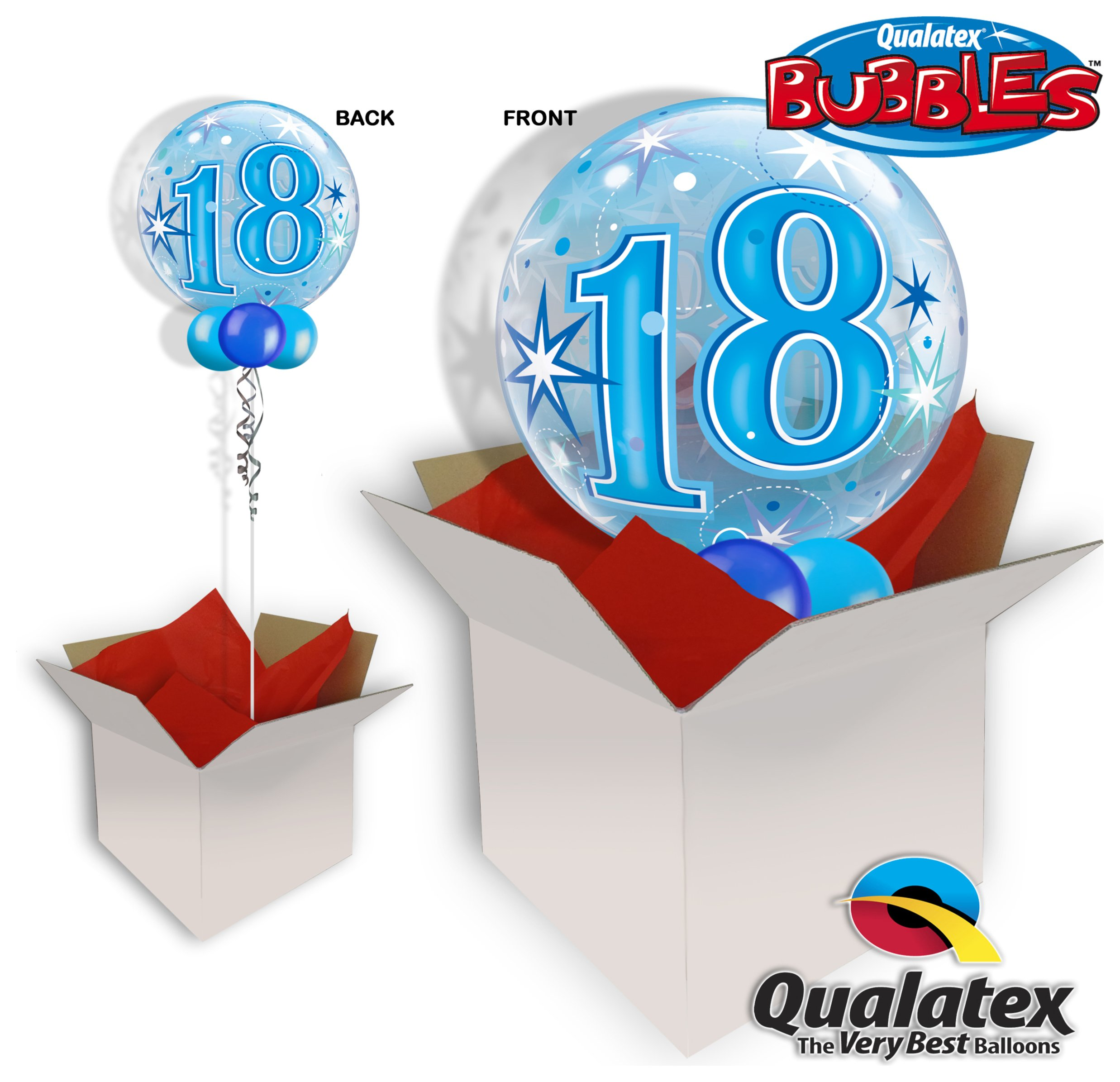 Image of 18th Birthday Blue Starburst Sparkle Bubble Balloon In A Box